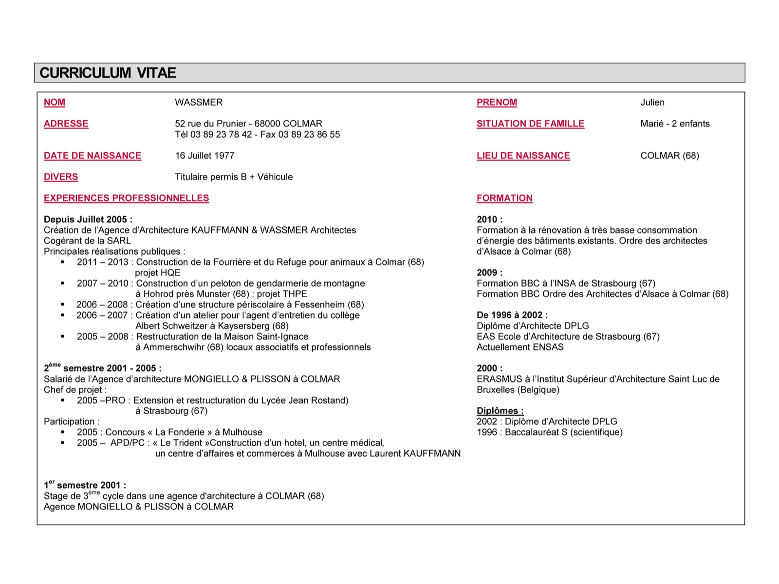 Exemple cv architecte dplg cv anonyme for Emploi architecte interieur